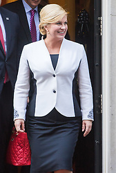 Downing Street, London, October 11th 2016. Croatian President Kolinda Grabar-Kitarović addresses the media after meeting British Prime Minister Theresa May at her official residence, 10 Downing Street.