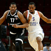 Anadolu Efes's and Besiktas Sompo Japan's during their Turkish Basketball Spor Toto Super League match Anadolu Efes between Besiktas Sompo Japan at the Abdi ipekci arena in Istanbul, Turkey, Monday 14, March 2016. Photo by Aykut AKICI/TURKPIX