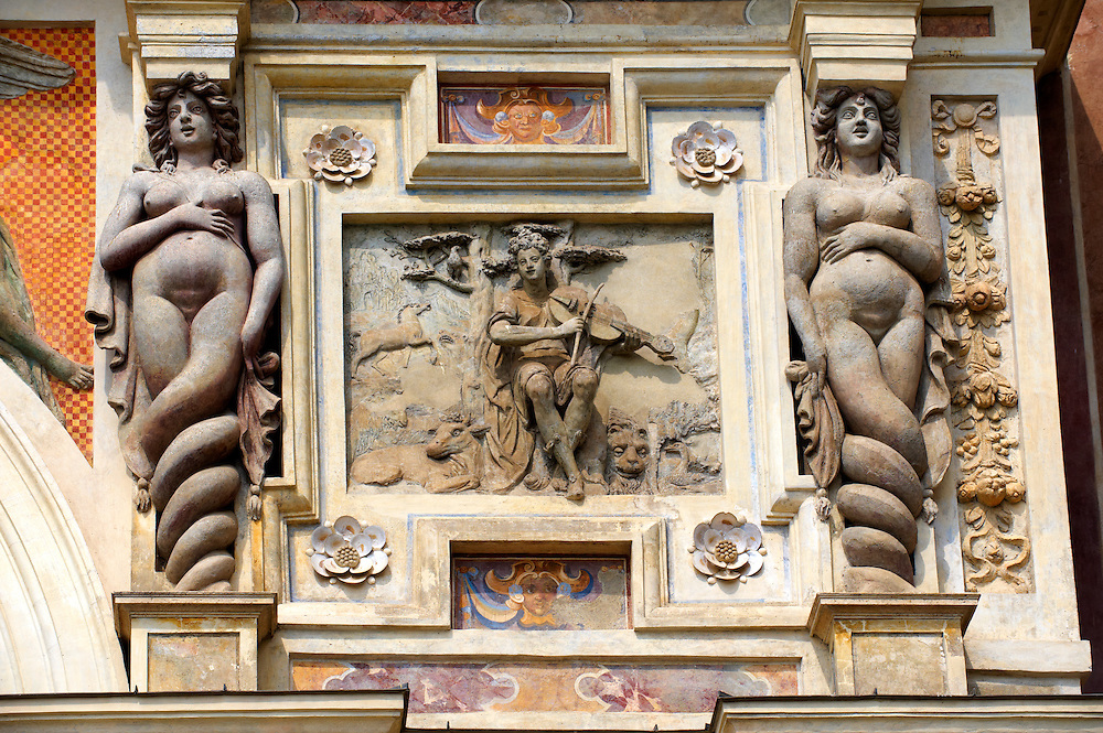 The Organ fountain, 1566, housing organ pipies driven by air from the fountains. Sirens either side of a  bas relief of Orpheus entrancing the animals Villa d'Este, Tivoli, Italy - Unesco World Heritage Site.