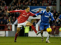 Photo: Glyn Thomas.<br />Nottingham Forest v Oldham Athletic. Coca Cola League 1.<br />14/01/2006.<br />Forest's Nathan Tyson (L) battles for the ball with Oldham's Terrell Forbes.