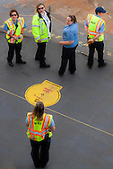 Washington State Ferry workers in a briefing while waiting to arrive in Seattle, in Puget Sound