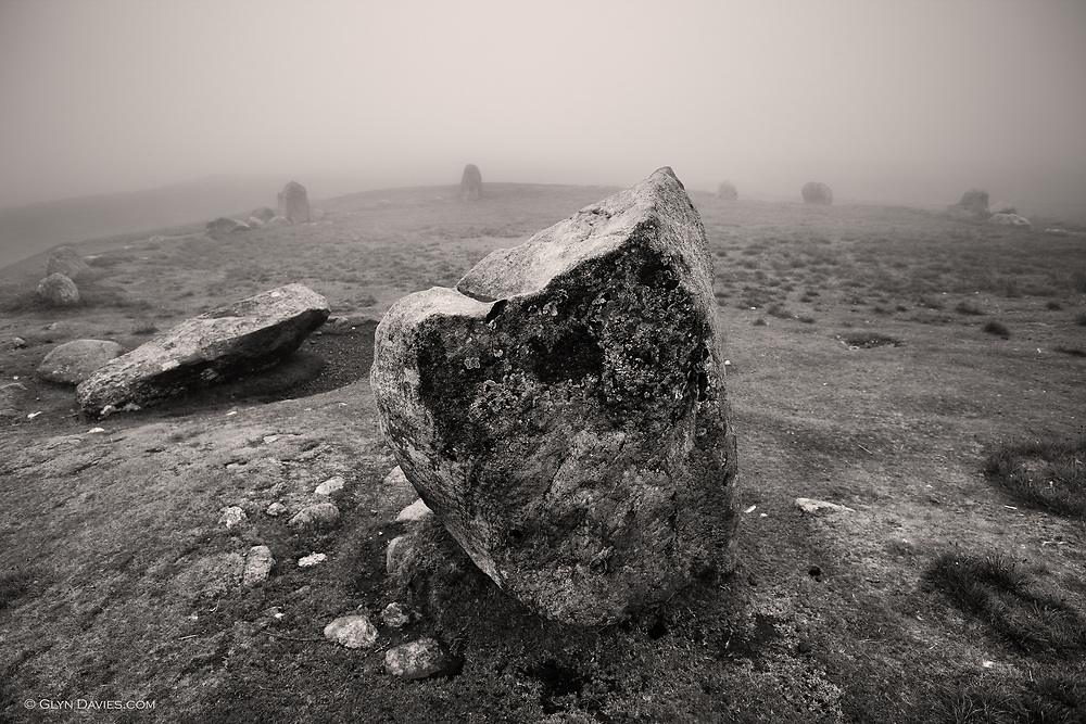 Druid's Circle in thick fog, Penmaenmawr