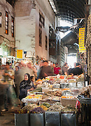 A busy scene in a souq in the Old City in Damascus, Syria