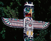 Thunderbird House Post, a replica carved in 1987 by Tony Hunt of the house post created by Kwakwaka'wakw artist Charlie James in the early 1900s.  On display at Stanley Park, Vancouver, British Columbia, Canada.
