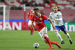December 5, 2017 - Lisbon, Portugal - Benfica's Suisse forward Haris Seferovic (L) vies with Basel's defender Michael Lang from Suisse during the UEFA Champions League Group A football match between SL Benfica and FC Basel at the Luz stadium in Lisbon, Portugal on December 5, 2017. (Credit Image: © Pedro Fiuza/NurPhoto via ZUMA Press)