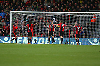 Football - 2017 / 2018 Premier League - AFC Bournemouth vs. Tottenham Hotspur<br /> <br /> The Bournemouth defence question each other after conceding the third goal at Dean Court (Vitality Stadium) Bournemouth <br /> <br /> COLORSPORT/SHAUN BOGGUST
