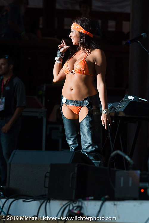 The Miss Buffalo Chip contest just before the Zach Brown band takes to the main stage at the Sturgis Buffalo Chip during annual Sturgis Black Hills Motorcycle Rally. SD, USA. August 4, 2014.  Photography ©2014 Michael Lichter.