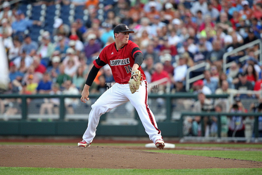 Kyle Funkhouser #16 of the Louisville Cardinals pitches during Game 2 of the 2014 Men's College World Series between the Vanderbilt Commodores and Louisville Cardinals at TD Ameritrade Park on June 14, 2014 in Omaha, Nebraska. (Brace Hemmelgarn)