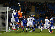 Marco Silvestri , the Leeds Utd goalkeeper makes a save from a Cardiff corner, stats show that the keeper made more saves in this match than any other goalkeeper in the Championship this season. Skybet football league championship match, Cardiff city v Leeds Utd at the Cardiff city stadium in Cardiff, South Wales on Tuesday 8th March 2016.<br /> pic by Andrew Orchard, Andrew Orchard sports photography.