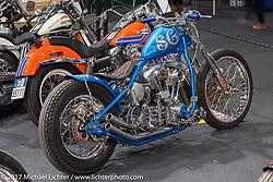 1981 Custom Shovelhead from Punta Bagna in the Low Ride custom bike show display during Motor Bike Expo. Verona, Italy. Saturday January 21, 2017. Photography ©2017 Michael Lichter.