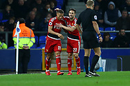 Richarlison of Watford (l) celebrates with his teammate Kiko Femenia after scoring his teams 1st goal. Premier league match, Everton vs Watford at Goodison Park in Liverpool, Merseyside on Sunday 5th November 2017.<br /> pic by Chris Stading, Andrew Orchard sports photography.