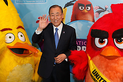 """United Nations Secretary-General Ban Ki-moon poses for a photo with """"Red"""" (R) and """"Matilda"""" from the Angry Birds movie at the """"Angry Birds for a Happy Planet"""" campaign, at the UN headquarters in New York, March 18, 2016. UN Secretary-General Ban Ki-moon appointed Red from the Angry Birds as Honorary Ambassador for Green on the International Day of Happiness and encouraged young people to take action on climate change and make the Angry Birds happy. EXPA Pictures © 2016, PhotoCredit: EXPA/ Photoshot/ Li Muzi<br /> <br /> *****ATTENTION - for AUT, SLO, CRO, SRB, BIH, MAZ, SUI only*****"""