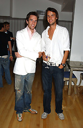 Left to right, DUNCAN STIRLING and CHARLIE GILKES at the launch of Friday Nights at Mamilanji - Chelsea's newest and most exclusive members club, 107 Kings Road, London SW3 hosted by Charlie Gilkes and Duncan Stirling held on 29th July 2005.<br />