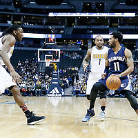 01 February 2016: Denver Nuggets guard Jameer Nelson (1) and Denver Nuggets forward Kenneth Faried (35) defend on Memphis Grizzlies guard Mike Conley (11) during the Memphis Grizzlies 119-99 victory over the Denver Nuggets, at the Pepsi Center, Denver, Colorado, USA.