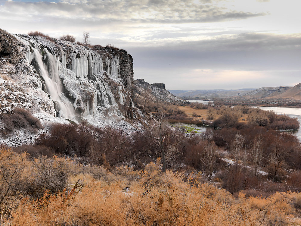 Licensing - Open Edition Prints<br /> Thousand Springs Preserve near Hagerman along the Snake River in Southern Idaho is frozen solid with ice and winter temperatures