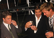 Matt Damon, George Clooney & Brad Pitt.Ocean's Eleven Post Premiere Party.Tented Lot.Los Angeles, CA, USA.December 05, 2001.Photo by Celebrityvibe.com..