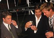 Matt Damon, George Clooney & Brad Pitt.Ocean's Eleven Post Premiere Party.Tented Lot.Los Angeles, CA, USA.December 05, 2001.Photo by Celebrityvibe.com..