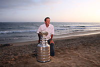 17 June 2007:  JIM BARROT.   Portrait of family, friends and hockey players on the sand in Newport Beach, CA on Fathers Day with the NHL Stanley Cup for the Hockey News courtesy of the Hockey Hall of Fame.  PERSONAL USE ONLY!!!!!!!