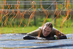 © Licensed to London News Pictures. 12/05/2012. Kettering, UK.A dejected Tough Mudder competitor rests underneath hanging electric wires to avoid an electric shock. Thousands of people took part in Tough Mudder today (12/05) in the grounds of Boughton House, Northamptonshire. The 12 mile course which was designed by British special forces soldiers, consisted of 25 extreme obstacles including water, mud, electrocution, and high walls. The challenge is designed to test teamwork abilities as well as physical strength and stamina . Photo credit : James Gourley/LNP