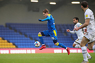 AFC Wimbledon striker Joe Pigott (39) dribbling and controlling ball in mid air during the EFL Sky Bet League 1 match between AFC Wimbledon and Milton Keynes Dons at Plough Lane, London, United Kingdom on 30 January 2021.