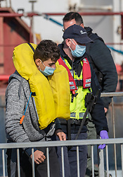© Licensed to London News Pictures. 07/10/2021. DOVER, UK. BORDER FORCE bring migrants for second day running into Dover Docks. Photo credit: Stuart Brock/LNP