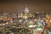 st. pauls at night overlooking the one new change construction site, London