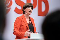 06 DEC 2019, BERLIN/GERMANY:<br /> Saskia Esken, MdB, SPD, Kandidatin fuer das Amt der Parteivorsitzenden, waehrend ihrer Bewerbungsrede, SPD Bundesprateitag, CityCube<br /> IMAGE: 20191206-01-016<br /> KEYYWORDS: Party Congress, Parteitag