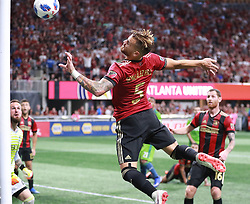 July 15, 2018 - Atlanta, GA, USA - Atlanta United defender Leandro Gonzalez Perez has his header bonce off the goal post, just missing a goal against the Seattle Sounders during the second half on Sunday, July 15, 2018, in Atlanta, Ga. (Credit Image: © Curtis Compton/TNS via ZUMA Wire)