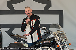 Harley-Davidson's Chris Feck describes the attributes of the just introduced HD 1200T Sportster at the Harley-Davidson Display during Daytona Bike Week. FL, USA. March 8, 2014.  Photography ©2014 Michael Lichter.