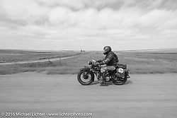 Ryan Allen riding his 1929 Indian 101 Scout during Stage 8 of the Motorcycle Cannonball Cross-Country Endurance Run, which on this day ran from Junction City, KS to Burlington, CO., USA. Saturday, September 13, 2014.  Photography ©2014 Michael Lichter.
