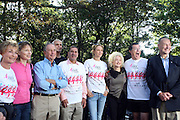 13 September 2009- NY, NY l to r: Judge Judy, Judy Light, Mayor Michael Bloomberg, Governor David Paterson, Uma Thurman, Cyndi Lauper, Stephen Colbert, and U.S. Senator Chuck Schumer at The Annual Komen New York City Race for the Cure held at West 77th Street and Central Park West on September 13, 2009 in New York City.  Photo credit: Terrence Jennings/Sipa Press