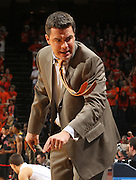 Jan. 27, 2011; Charlottesville, VA, USA; Virginia Cavaliers head coach Tony Bennett reacts to a call during the game against the Maryland Terrapins at the John Paul Jones Arena. Maryland won 66-42. Mandatory Credit: Andrew Shurtleff