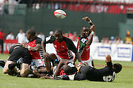 Action from the 2008-2009 opening event in the IRB World sevens series, the Emirates Airline Dubai Sevens 2008 tournament at the new Sevens Stadium in Dubai on 28th/29th November 2008. Kenya v New Zealand.