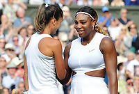 Tennis - 2019 Wimbledon Championships - Week One, Tuesday (Day Two)<br /> <br /> Women's Singles, 1st Round: Serena Williams (USA) v Giulia Gatto - Monticone (ITA)<br /> <br /> Giulia Gatto - Monticone congratulates Serena at the net after the match on Centre Court <br /> <br /> COLORSPORT/ANDREW COWIE