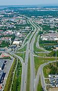 Aerial view Anchorage Freeway the Seward Highway in summer