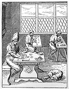 Pin and Needle Maker. Woodcut by Jost Amman (1535-1591) Swiss engraver.