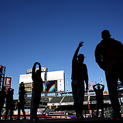 NEW YORK, NEW YORK - APRIL 27:  Cincinnati Reds players warming up before the New York Mets Vs Cincinnati Reds MLB regular season game at Citi Field on April 27, 2016 in New York City. (Photo by Tim Clayton/Corbis via Getty Images)