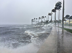 September 10, 2017 - Palm Beach, Florida, U.S. - Water from the Intracoastal Waterway crashes over the seawall along Flagler Drivein West Palm Beach Sunday afternoon, as winds from Hurricane Irma rake the county. (Credit Image: © Lannis Waters/The Palm Beach Post via ZUMA Wire)