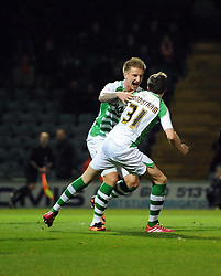 Yeovil Town's John Lundstram celebrates his goal with Yeovil Town's Byron Webster - Photo mandatory by-line: Joe Meredith/JMP - Tel: Mobile: 07966 386802 03/12/2013 - SPORT - Football - Yeovil - Huish Park - Yeovil Town v Blackpool - Sky Bet Championship