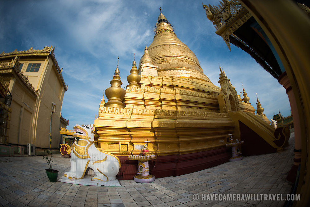 Sitting on top of Nga-pha Hill, Soon Oo Pon Nya Shin Pagoda is one of multiple pagodas and temples in the religious district of Sagaing, near Mandalay. The original pagoda dates to 674.
