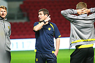 Burton Albion manager Nigel Clough chats with players pre-match during the EFL Sky Bet Championship match between Bristol City and Burton Albion at Ashton Gate, Bristol, England on 13 October 2017. Photo by John Potts.