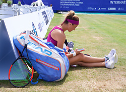 LIVERPOOL, ENGLAND - Saturday, June 23, 2018: Alexandra Cadantu (ROU) relaxes before her match against Vera Zvonareva (RUS) during day three of the Williams BMW Liverpool International Tennis Tournament 2018 at Aigburth Cricket Club. (Pic by Paul Greenwood/Propaganda)
