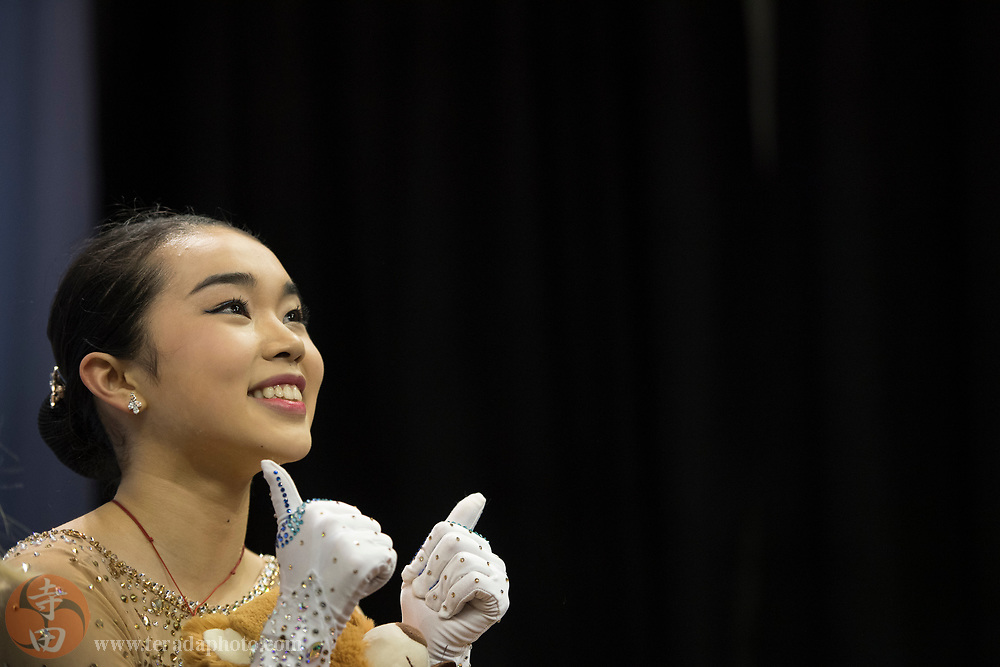 January 3, 2018; San Jose, CA, USA; Karen Chen looks at the video board in the kiss and cry after skating in the ladies short program during the 2018 U.S. Figure Skating Championships at SAP Center.