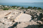 The excavation of the Roman ruins of Tiberias, The ruins are south of Todays Tiberias, Israel. The Roman Theatre
