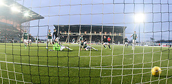Falkirk's Blair Alston scoring their goal. <br /> Falkirk 1 v 1 Hibernian, Scottish Championship game played 17/1/2015 at The Falkirk Stadium.