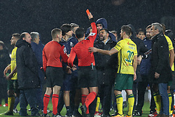 March 11, 2018 - Pacos Ferreira, Pacos Ferreira, Portugal - Bruno Paixao referee shows the red card to Porto's Portuguese head coach Sergio Conceicao (C) during the Premier League 2017/18 match between Pacos Ferreira and FC Porto, at Mata Real Stadium in Pacos de Ferreira on March 11, 2018. (Credit Image: © Dpi/NurPhoto via ZUMA Press)