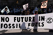 Climate Change Extinction Rebellion protesters concerned about the fossil fuel economy occupy Bank in the City of London, the capital's financial district, on 2nd September 2021, in London, England,