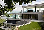 beautiful modern house, view from garden