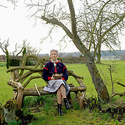 A lifelong lover of chickens, Deborah Devonshire holds a basket of hens eggs whilst sitting on a bench at her home on the Chatsworth Estate, Derbyshire. Deborah Vivien Cavendish, the Dowager Duchess of Devonshire, née The Hon. Deborah Freeman-Mitford, is the youngest and last surviving of the six Mitford sisters whose political affiliations and marriages were a prominent feature of English culture in the 1930s and 1940s.