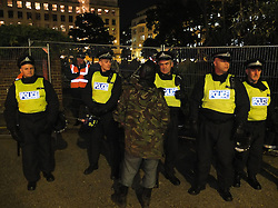 © licensed to London News Pictures. London, UK. 14/07/12. Police prevent access to the square. Enforcement officers clear the remaining 'Occupy' protest camp in London's Finsbury Square during the early hours of this morning after Islington Council won a High Court battle over the site. Photo credit: Jules Mattsson/LNP